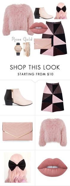 """Rose Gold"" by marshmallowgoddess ❤ liked on Polyvore featuring Nine to Five, Florence Bridge, Sasha, Charlotte Simone, Lime Crime and Jessica Carlyle"