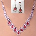 Wholesale crystal and rhinestone necklace set with color
