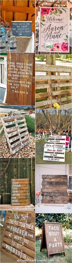 Rustic wedding signs / http://www.deerpearlflowers.com/30-rustic-wedding-signs-ideas-for-weddings/