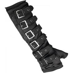 Black gothic gloves by Restyle, detailed with metal rivets and adjustable straps with buckle closures.