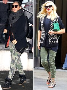 CAMO PANTS  We don't have to tell you twice that patterned pants have been the trend of 2012. You've got floral, star print, polka dot and now it's time to clear space in your denim drawer for camouflage. The key to pulling it off in a modern way: with dark, neutral extras (modeled by Alicia Keys) and in a skinny fit (as seen on Gwen Stefani, wearing a $60 Gap pair).