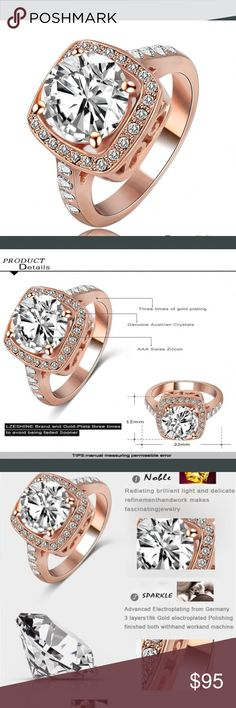Austrian crystal ring Austrian crystal and rose gold plated setting Jewelry Rings