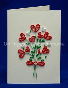 Buchetel cu inimi Quilling Flowers Tutorial, Paper Quilling Flowers, Paper Quilling Cards, Quilling Work, Origami And Quilling, Paper Quilling Patterns, Quilled Paper Art, Quilling Jewelry, Quilling Paper Craft