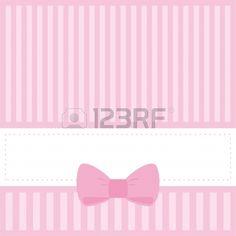 Tarjeta rosa o invitación para bebé partido de la ducha, boda o cumpleaños con las rayas y el arco dulce. Fondo lindo con el espacio en blanco para poner su propio texto. Ilustración vectorial