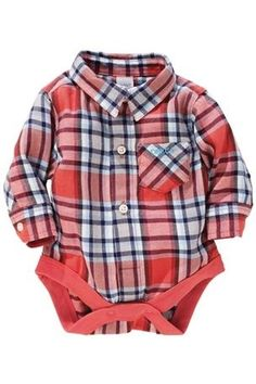 This plaid onesie is too adorable!
