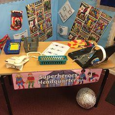 Super hero role play area. Year 2. Superhero topic. Superhero Writing, Superhero Preschool, Superhero Classroom, Preschool Art, Superhero Party, Super Hero Activities, Teaching Activities, Activities For Kids, Early Years Topics