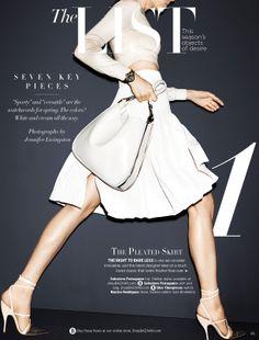 Harper's Bazaar, February 2014 (USA): Ferragamo women's SS14 runway collection crop top, silk pleated skirt and bone leather handbag.