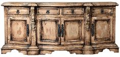 Extra long sideboard, with plenty of room for storage. Hand made y Peruvian Artisans, old world style, luxury furnishings. Tuscan Furniture, Modern Rustic Furniture, Modern Rustic Homes, Colorful Furniture, Handmade Furniture, Unique Furniture, Tuscan House, Elegant Dining Room, Mediterranean Home Decor