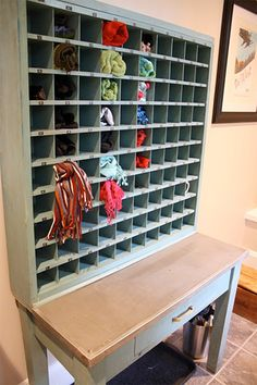 vintage mail sorter for mud room organizing #repurpose #vintage #home