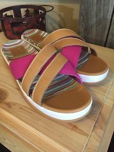 Cole Haan Leather Canvas Fuchsia Brown Slip On Slide Cross Cross Sandals 11 B    eBay