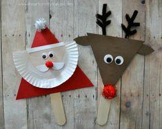 Christmas / Activities / Santa and reindeer stick puppets Kids Crafts, Preschool Christmas Crafts, Santa Crafts, Christmas Arts And Crafts, Reindeer Craft, Diy And Crafts Sewing, Santa And Reindeer, Christmas Activities, Christmas Projects