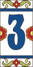 """3"""" x 6"""" Ceramic Tile Address House Number Talavera White #3 THREE by Earthtones. $8.90. Hand-Glazed. Italian Red Quarry Tile. Indoor or Outdoor Use. Kiln-Fired at over 1800 Degrees. Weatherproof and Fadeproof. Hand-glazed decorative ceramic tile house numbers come in a variety of styles to suite your individual taste. Display your address number alone or pair it with one of our 3""""x6"""" deco tiles or 6""""x6"""" designs. House numbers can be inlayed directly, or we offer easy to ass..."""