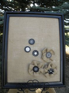 Buttons and Burlap used for pins. Also covering cork board with Burlap