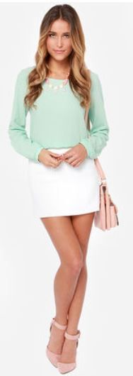 Blouse Hunting Long Sleeve Mint Green Top - StackDealz