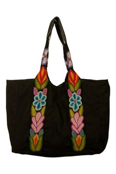 Jenny Krauss Embroidered Floral Tote Bag