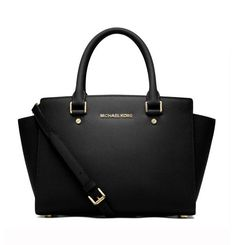 Selma Saffiano Leather Medium Satchel Black