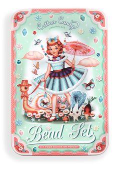 Cotton Candy bead set tin by Fiona Hewitt Vintage Pictures, Pretty Pictures, Vintage Images, Vintage Labels, Vintage Toys, Retro Vintage, Designer Toys, Vintage Greeting Cards, Vintage Advertisements