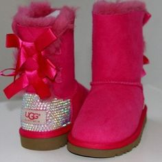 Custom Pink Bailey Bow Swarovski Ugg Boots