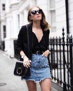 Pearls on denim monochrome outfit - Chelcie Nicole M