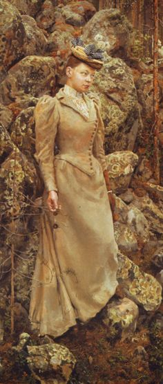 Akseli Gallen-Kallela aprilie 1865 - 7 martie pictor şi grafician finlandez - Mary Gallen in a Rocky Landscape at Vehmersalmi Helene Schjerfbeck, Classic Artwork, Vintage Artwork, 1890s Fashion, Victorian Fashion, Art Through The Ages, 19th Century Fashion, Victorian Art, Historical Clothing