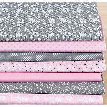 Lot de 7 coupons de tissu patchwork 'jardin de roses'