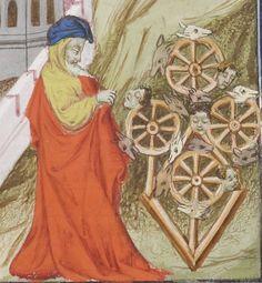 via Hurlbut website: Ezekiel's vision of four wheels Bibliotheque de l'Arsenal, MS5058 reserve,f.386v Guyart des Moulins, Bible historiale [La Bible historiaux, ou les histoires escolastres]. Tome II