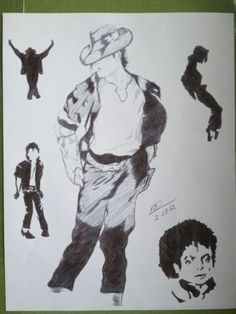 King of Pop. Collage 8x10 black and white sketches of Michael Jackson. Signed by the artist, Ed Settles. Great addition to any collection. Perfect for any Michael Jackson fan. This is a copy of the or