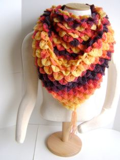 Crochet Crocodile Stitch Shawl ON SALE by sheilalikestoknit Crochet Art, Crochet Poncho, Crochet Scarves, Crochet Crafts, Yarn Crafts, Crochet Hooks, Crochet Projects, Crochet Patterns, Thanksgiving Crochet