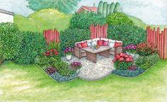 Sitzplatz im Garten mit Ecksofa
