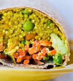 will make w/out the wrap Curried Quinoa Wrap, Avo-Citrus Slaw. Fuel-Up! Vegan Lunch Recipes, Cooking Recipes, Healthy Recipes, Paleo Meals, Vegetarian Options, Protein Recipes, Protein Snacks, High Protein, Healthy Meals