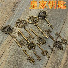DIY手工饰品材料批发 青古铜复古 合金配件钥匙挂饰 厂家批发合金