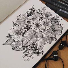 Super line art flowers zentangle Ideas Doodle Art Drawing, Zentangle Drawings, Pencil Art Drawings, Art Drawings Sketches, Zentangles, Mandala Art Lesson, Mandala Artwork, Line Art Flowers, Flower Art