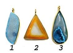 24 kt Gold Plated Druzy Pendants  1 piece of fine by finegemstone, $16.00
