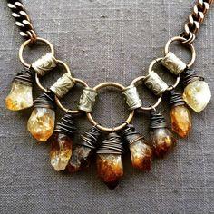 Raw Citrine Statement Necklace Wire Wrap Necklace Crystal Bib Necklace Rustic Je...
