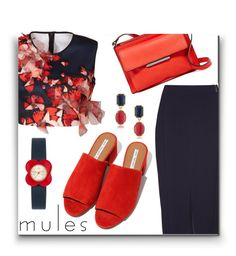"""Slip 'Em On: Mules"" by ajspragu02 ❤ liked on Polyvore featuring Clover Canyon, Damsel in a Dress, French Connection, 1st & Gorgeous by Carolee and Orla Kiely"
