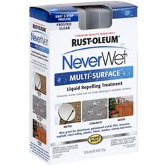 NeverWet Liquid Repelling Treatment  -- Rust-Oleum® NeverWet is a two-step product system designed to create a moisture repelling barrier on a variety of surfaces. It is suitable for use on metal, wood, aluminum, galvanized metal, PVC, concrete, masonry, asphalt, vinyl siding, fiberglass, canvas, most plastics and more.