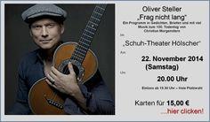 """Eine spannende Veranstaltung im """"Schuh-Theater"""" Hölscher. Oliver Steller ist mit seinem Programm """"Frag nicht lang"""" - Christian Morgenstern - zu Gast. Infos + Tickets : www.schuh-hoelscher.de/steller"""