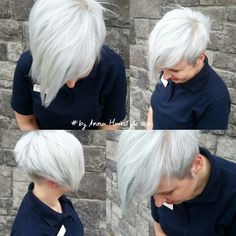 Short blonde pixie cut with bangs for fine thin hair☝✌ grey blonde… Cute Hairstyles For Short Hair, Pixie Hairstyles, Bob Haircuts, Pixie Haircut, Short Hair Back, Short Hair Cuts, Short Hair Styles, Hair Color Experts, Anna Hair