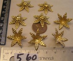 12 Vtg 25mm Riveted Brass Flower ad No Hole Enamel Jewelry Findings Lot Stamping #Unbranded…