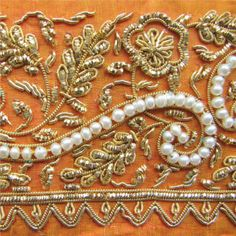 Russian traditional gold-and-pearl embroidery