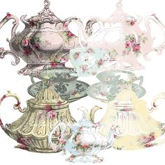 Digital Collage Sheets, Vintage Teapots and Cups, Antique wallpaper, Instant Download, Scrapbook Printable, Appliques by FrenchPaperMoon on Etsy https://www.etsy.com/listing/234170595/digital-collage-sheets-vintage-teapots