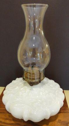 Victorian Milk Glass Spider Web Kerosene Lamp