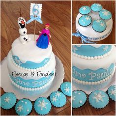 Frozen cake and cupcakes by Fiestas & Fondant