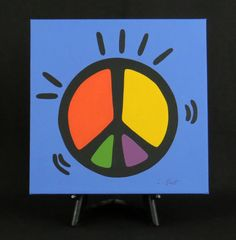 Peace Sign Hand Painted Acrylic Painting/Canvas on Etsy, $225.00