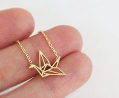 Origami crane pendant necklace, crane, folded-paper crane