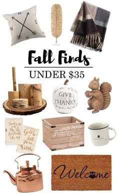 Fall Finds Under $35 | Fall Decor on a Budget | Fall | Autumn | Farmhouse Decor…