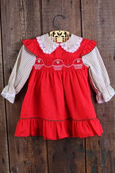 Rosaling Smocked Green Farm Dress Girls' Clothing (newborn-5t) Clothing, Shoes & Accessories Size 3t