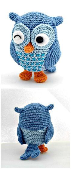 Free Crochet Jip The Owl Amigurumi Pattern Crochet Birds, Cute Crochet, Crochet Crafts, Crochet Baby, Crochet Projects, Knit Crochet, Diy Crafts, Crochet Animals, Crochet Doll Pattern