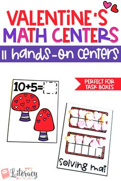 These Valentine's themed math centers fit perfectly into photo storage boxes for wonderful grab and go centers. There are 11 centers that work on a variety of math skills so that you can pick and choose centers to differentiate to meet the needs of your students. These centers are hands-on and interactive. Each center comes in full color and ink saving black and white.  Perfect for Kindergarten and first grade.