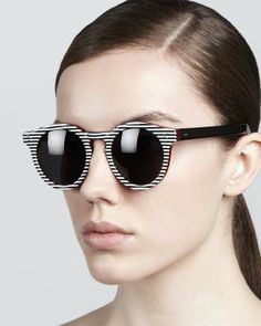 Spectacles | Illesteva Leonard II Striped Sunglasses, Black/White on Wantering | womensstripedsunglasses #womenssunglasses #womensfashion #womensstyle #fashion #style #illesteva #wantering http://www.wantering.com/womens-clothing-item/leonard-ii-striped-sunglasses-blackwhite/acZUo/